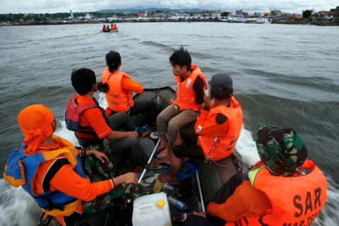 "A rescue team searches for victims of sunken ferry ""Teratai Prima"" off Sulawesi island"