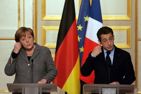 German Chancellor Angela Merkel And French President Nicolas Sarkozy Hold Cabinet Session At Elysee Palace