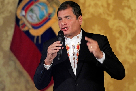 Ecuador's President Correa addresses the nation at Carondelet Palace in Quito