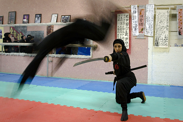 A Ninjutsu practitioner jumps