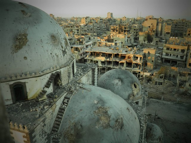 A general view shows the damaged Khalid bin al Walid Mosque in Homs