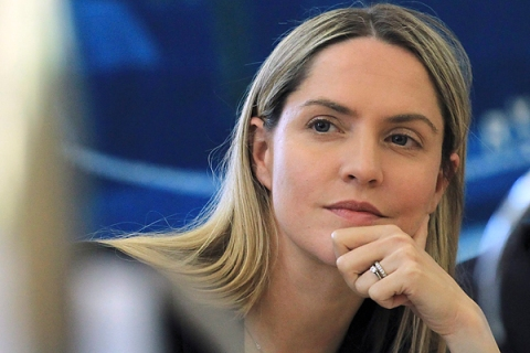 Conservative Member of Parliament Louise Mensch attends the Department of Culture Media and Sport press conference announcing a cross-party report on phone hacking at Portcullis House in London