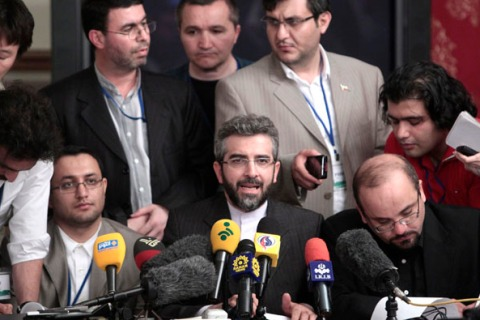 Iran's negotiator Ali Bagheri attends a meeting with the media in Moscow
