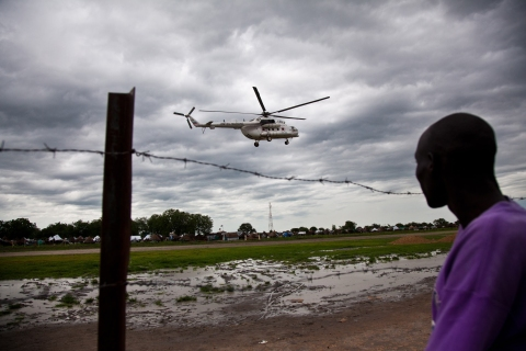 A U.N. helicopter lands at the airstrip in Pibor