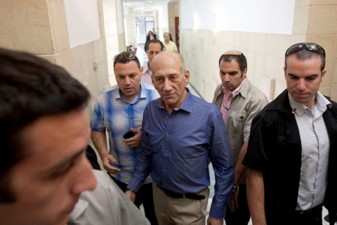Former Israeli prime minister Olmert arrives at the Jerusalem District court