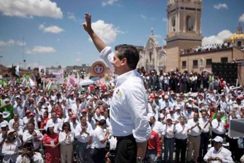 Enrique Pena Nieto, at a PRI rally in Tepeaca, Puebla, Mexico