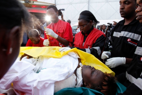 Woman wounded during an attack on churches in Nairobi