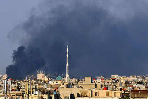 Smoke Billows over Damascus
