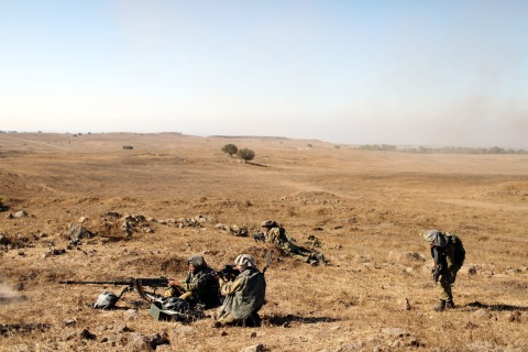 Military exercise in Golan Heights
