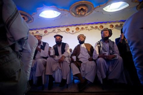 Former Afghan Mujahideen attend a functi