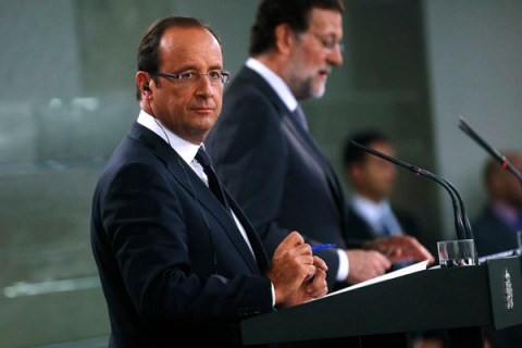 French President Hollande and Spain's PM Rajoy attend a joint news conference in Madrid