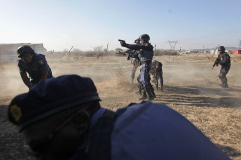 In South Africa, Police Fire on Striking Mineworkers
