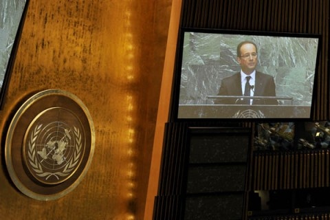 French President Francois Hollande speaks at the United Nations General Assembly at the United Nations
