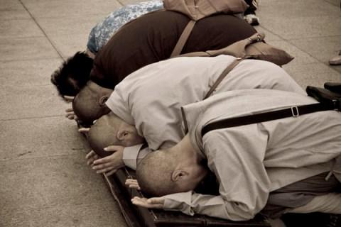 Buddhists pray at Putuo Shan, Zhejiang Province, China.