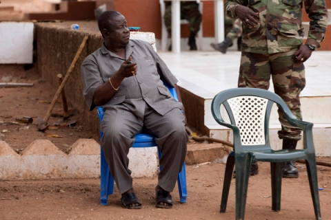 Guinea Bissau's army chief of staff Antonio Indjai sits after a news conference at military headquarters in the capital Bissau