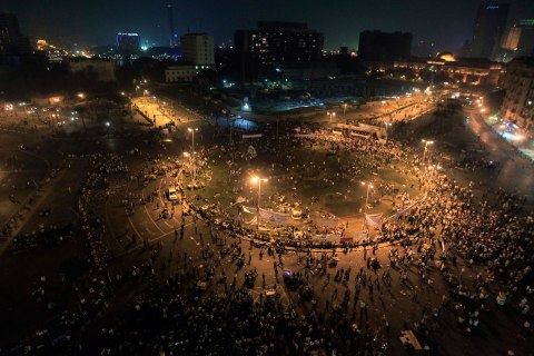 image: Egyptians protest against the Muslim Brotherhood and demand for the constitution to be dissolved at Tahrir Square in Cairo, Oct. 19, 2012.