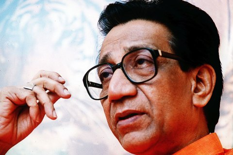 image: Balasaheb Thackeray, leader of the Hindu nationalist Shiv Sena, in January of 1993.