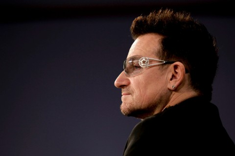 U2 lead singer and co-founder of ONE and (RED) Bono participates in a round-table discussion with others leaders on World AIDS Day at the Jack Morton Auditorium on the campus of George Washington University December 1, 2011 in Washington, DC.