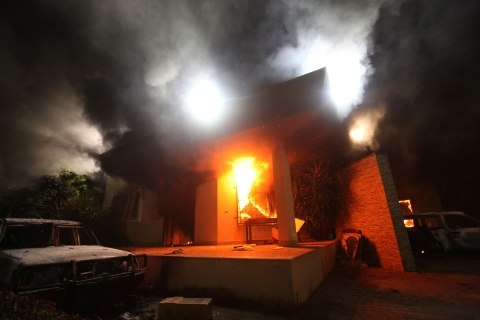 image: The U.S. Consulate in Benghazi is seen in flames after an attack, Sept. 11, 2012.