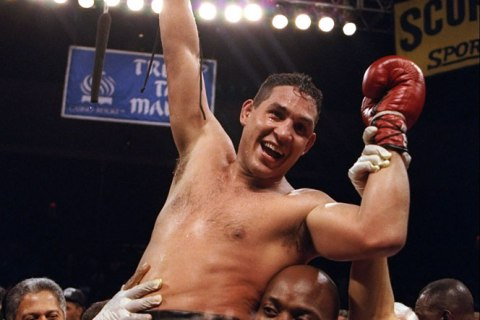 image: Hector Camacho celebrates after defeating Roberto Duran at the Trump Taj Mahal in Atlantic City, N.J., July 22, 1996.