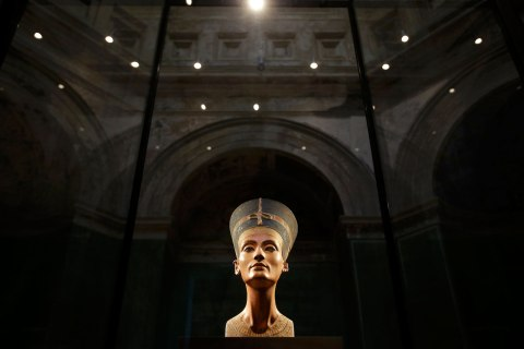 image: The Nefertiti bust is pictured during a press preview of the exhibition 'In The Light Of Amarna' at the Neues Museum in Berlin, Dec. 5, 2012.
