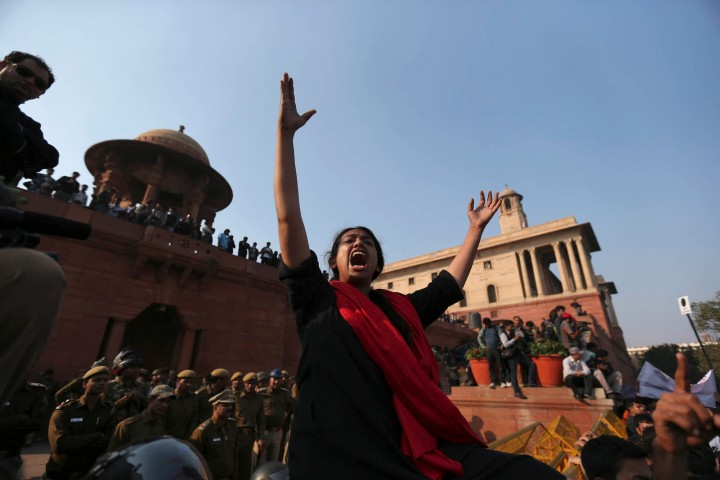 A demonstrator shouts slogans during a protest rally near the presidential palace in New Delhiimage: A demonstrator shouts slogans during a rally near the presidential palace in New Delhi, Dec. 22, 2012.