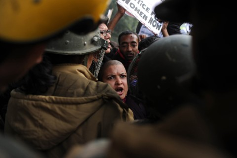 image: Demonstrators shout slogans and wave placards as they move towards India Gate in New Delhi on Dec. 27, 2012, during a protest calling for better safety for women following the rape of a student in the Indian capital. Protests across India over the last week against sex crimes have denounced the police and government, with the largest in New Delhi at the weekend prompting officers to cordon off areas around government buildings. One policeman was killed and more than 100 people injured in the violence.