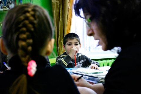image: Orphan children attend a class at an orphanage in the southern Russian city of Rostov-on-Don, Dec. 19, 2012.