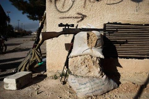 image: A Free Syrian Army's sniper position in Al Qsair, Syria, Feb. 9, 2012.