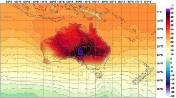 image: The Australian Bureau of Meteorology has extended their forecasting chart with new colors in order to display the record temperatures.