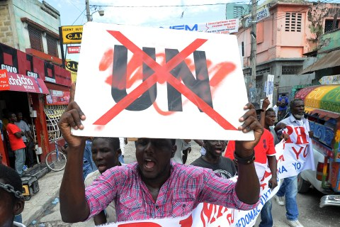 Haitians demonstrate on September 23, 20