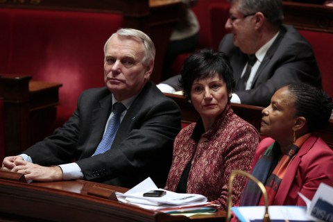 French Prime Minister Jean-Marc Ayrault, French Junior Minister for Family Dominique Bertinotti and French Justice Minister Christiane Taubira listen to members of Parliament explaining their vote on Feb. 12, 2013 at the French National Assembly in Paris.