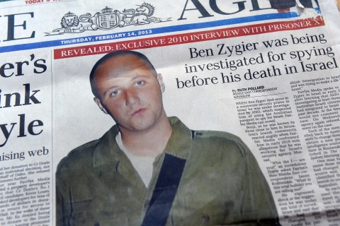 Australian newspapers lead their front pages with the story of Ben Zygier on Feb. 14, 2013.