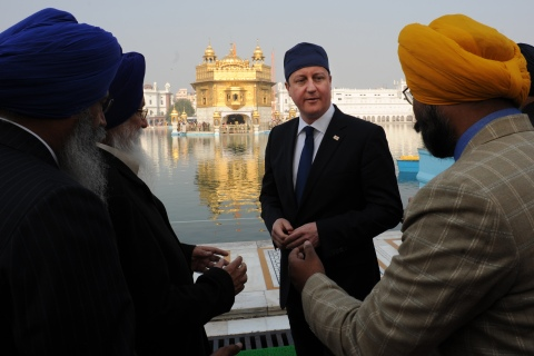 Prime Minister David Cameron is shown around the Golden Temple at Amritsar in Punjab, India.