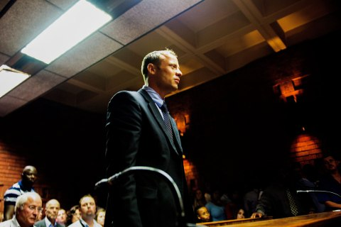 Oscar Pistorius attends a court hearing at the Pretoria magistrates court, South Africa.