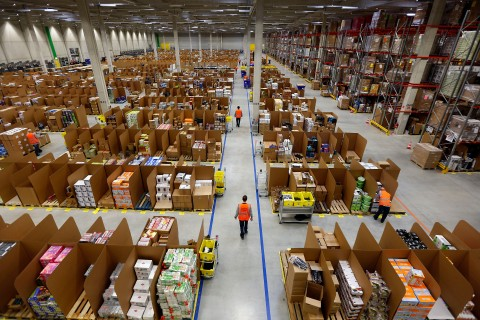 Work is carried out at Amazon's logistics centre in Graben near Augsburg