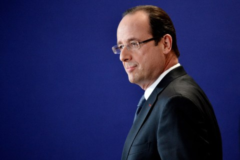 French President  Francois Hollande attends a press conference at the EU Headquarters in Brussels, Feb. 8, 2013.