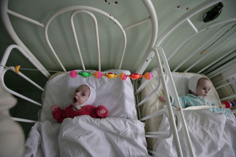 Abandoned children rest in a hospital in Constanta, Romania, Oct. 16, 2006.