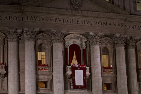 Newly elected Pope Francis I  on the central balcony of St Peter's Basilica on March 13, 2013 in Vatican City, Vatican.