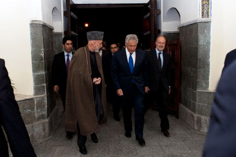 Secretary of Defense Chuck Hagel meets with Afghan president Hamid Karzai, March 10, 2013.