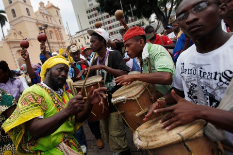 "Indigenous Garifuna play the drums during the ""March of the 214 drums"" in Tegucigalpa"