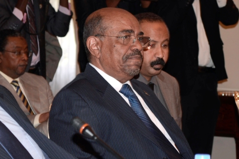 Sudan's President Omar Hassan al-Bashir attends a meeting with leaders from South Sudan at the National Palace in the Ethiopian capital Addis Ababa