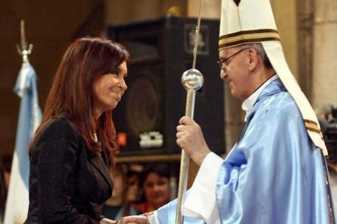 Argentine President Cristina Fernandez de Kirchner greets Argentine Cardinal Jorge Bergoglio at the Basilica of Lujan, December 22, 2008.