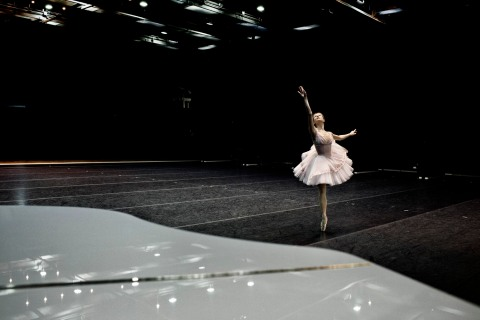 Angelina Vorontsova, a prize-winning ballerina of the Bolshoi Ballet company in Moscow, rehearses for a performance on the upper stage of the Bolshoi Theatre on Feb. 6, 2013.
