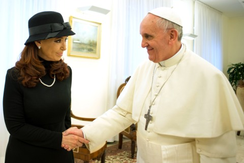 Pope Francis meets Argentine President Cristina Fernandez at the Vatican, March 18, 2013.