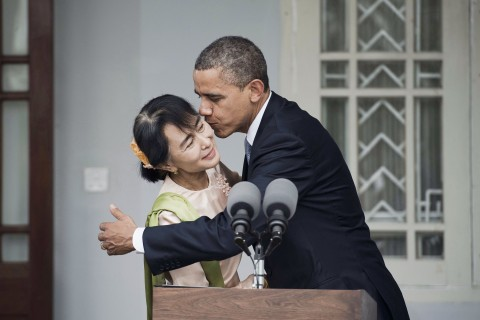 U.S. President Barack Obama and Myanmar pro-democracy leader Aung San Suu Kyi
