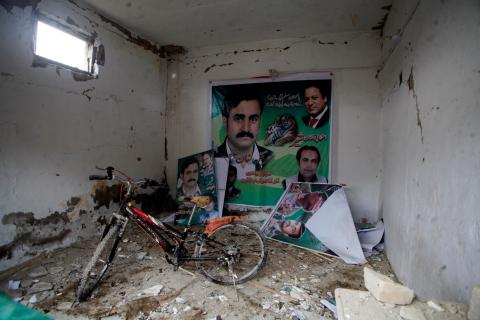 Debris is pictured in a damaged office of Pakistan Muslim League  after Tuesday's bomb blast in Quetta, on April 24, 2013.