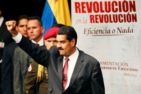 Venezuelan President Nicolas Maduro at a swearing ceremony in Caracas, on April 22, 2013.