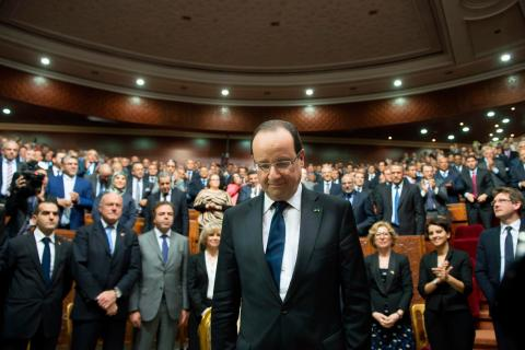 French President Francois Hollande arrives to deliver a speech at the Moroccan Parliament in Rabat