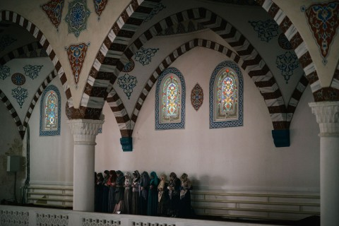 Women pray in main mosque of Dagestan in Makhachkala on May 14, 2013.